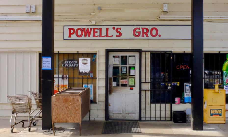 Powell's grocery store and filling station, home to a BBQ shop, at Stockton.
