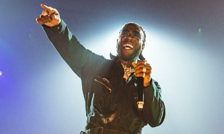 Burna Boy performing at Wembley Arena.