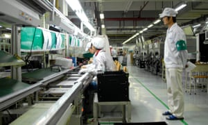 Workers at a Foxconn factory in Shenzhen, southern China.
