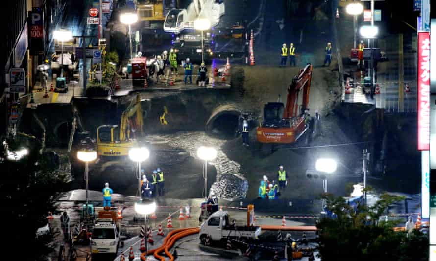 Work on sinkhole in front of JR Hakata Station