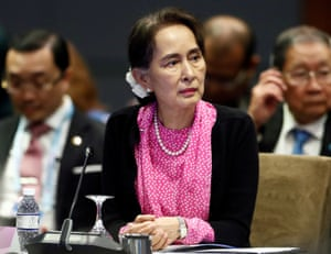 Aung San Suu Kyi attends the Asean-China summit in Singapore, November 2018