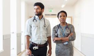 Karan Prakash, a junior doctor, and Simi Seriki, student doctor, at Bristol Royal Infirmary