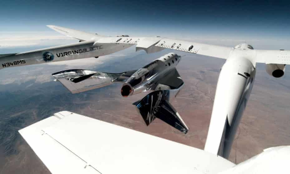 Virgin Galactic's VSS Unity is released from its mothership, VMS Eve, during a test flight in May