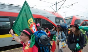 Pilgrims board a train for World Youth Day 2016 in Kraków, from Łódź in Poland