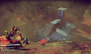 No Man's Sky screengrab of structure on an alien planet