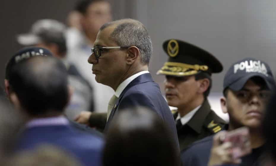 Ecuador's vice president Jorge Glas (centre) was sentenced to six years in jail for taking bribes from Brazilian company Odebrecht.