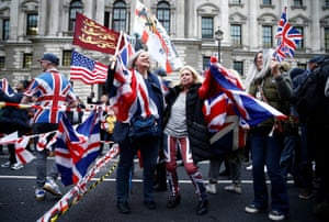 People celebrate Britain leaving the EU on Brexit day in London