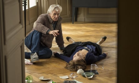 … Paul Verhoeven with Isabelle Huppert on set of Elle.