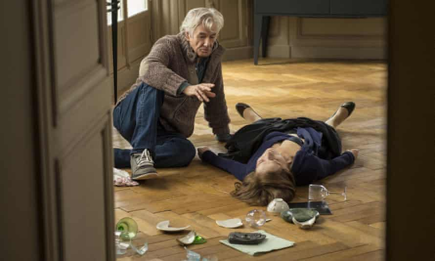 'She's a strong woman' … Verhoeven and Huppert filming the rape scene.