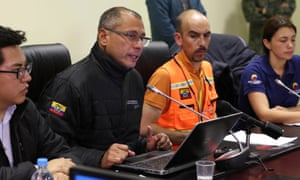 Ecuador's vice-president Jorge Glas speaks at the meeting on the report on the earthquake in the capital Quito
