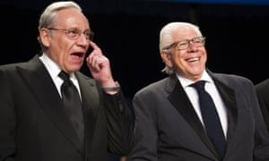 Bob Woodward, left, and Carl Bernstein appear at the White House Correspondents' Dinner in Washington on 29 April 2017.