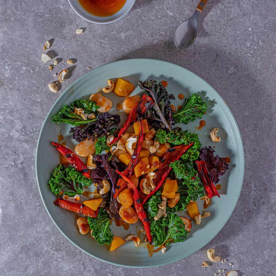Spiced squash, butter bean and kale salad.