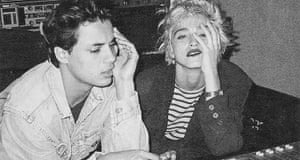 Kamen with Madonna, in the studio from the back cover artwork for Each Time You Break Heart single produced by Madonna and Stephen Bray released in 1986