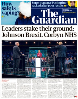 Guardian front page, Wednesday 20 November 2019