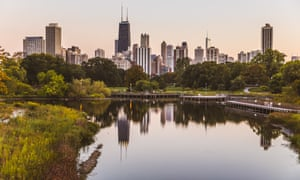City skyline from Lincoln Park, Chicago