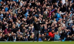 Pep Guardiola and City's fans celebrate a goal during their sprint to this season's Premier League title.