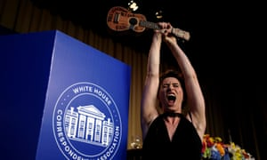 Singer Amanda Palmer gestures with her ukulele at the annual White House Correspondents' Association Dinner in Washington.