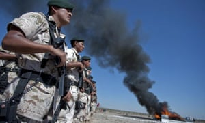 Mexican soldiers burning marijuana, cocaine, heroin and other drugs in Ciudad Juarez, Chihuahua.