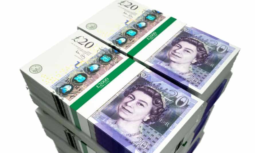 a huge stack of crisp new £20 notes