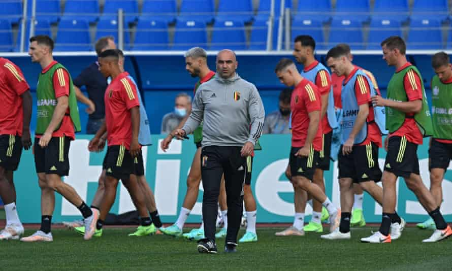 Roberto Martínez during a Belgium training session in St Petersburg before their opening Euro 2020 game against Russia