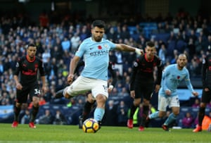 Aguero slots home the penalty.