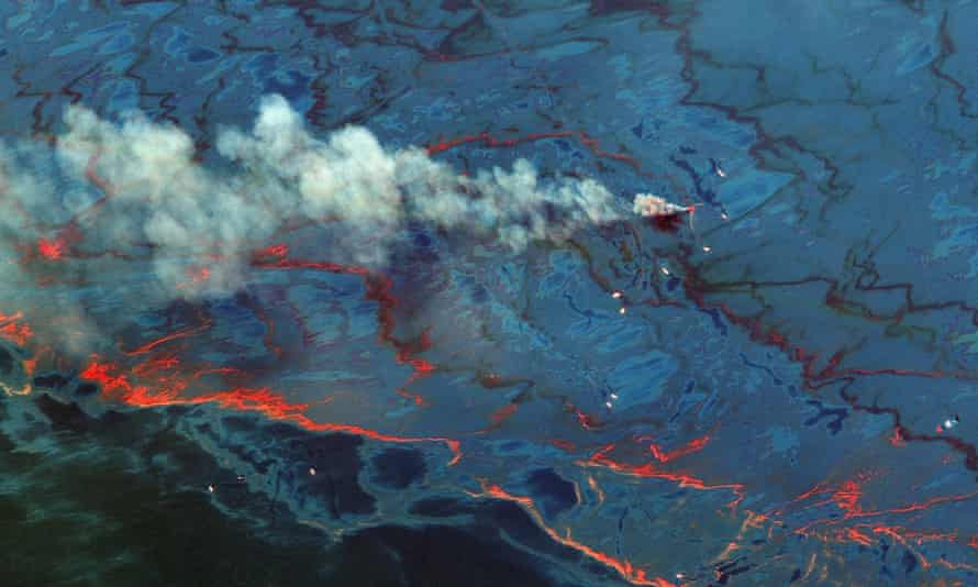 A satellite image shows oil released from the Deepwater Horizon oilwell into the Gulf of Mexico, on 10 June 2010. A new study argues that satellite imagery was unable to detect the full extent of toxic oil.