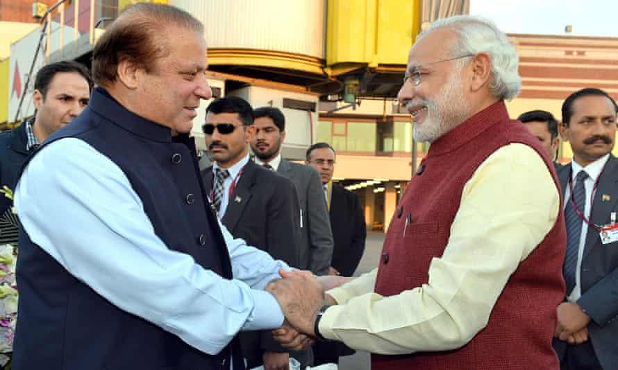 Indian prime minister Narendra Modi, right, meeting Nawaz Sharif in Lahore