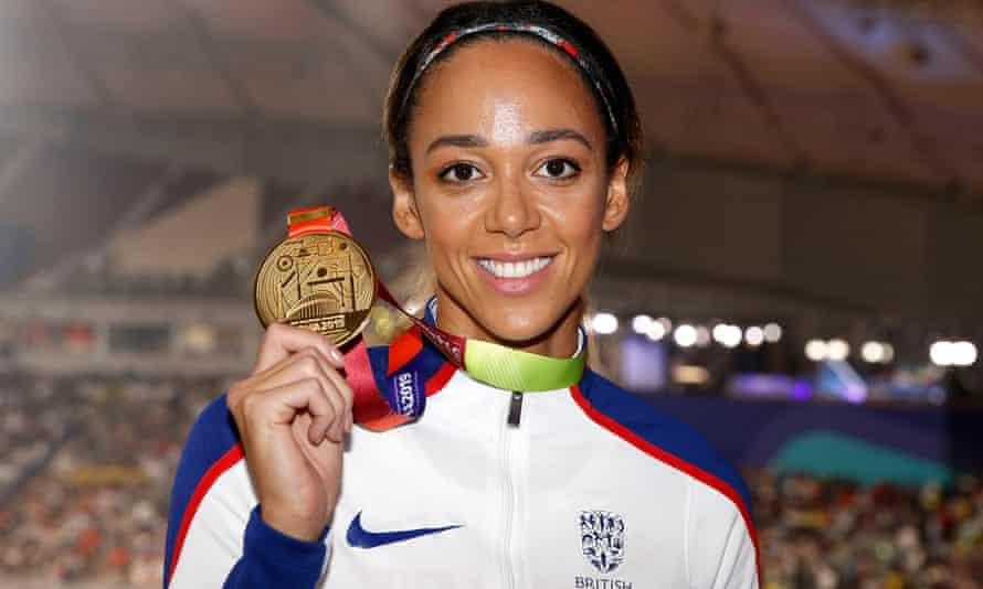 Katarina Johnson-Thompson shows off the gold medal she won in the heptathlon at the 2019 world championships in Doha, Qatar.