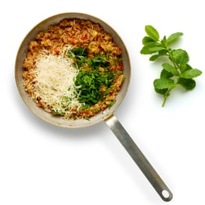 Stir the parmesan and mint into the stuffing mix ...