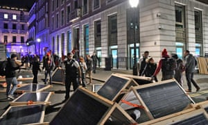 Solar panels were delivered to the entrance of BP's HQ in London.