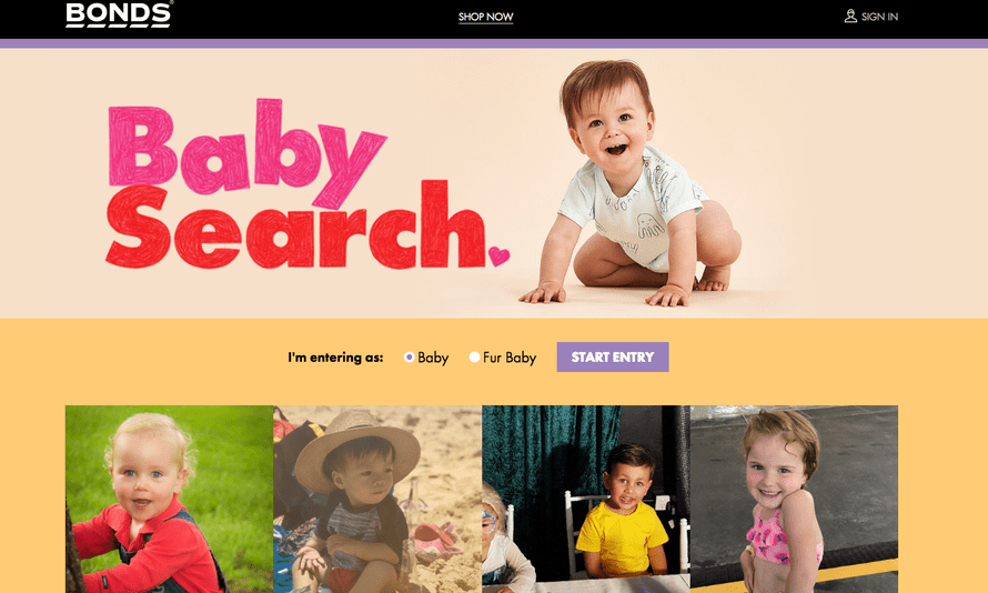 Bonds staff will now pick winners of its Baby Search competition, and the clothing brand has also introduced a pets category.