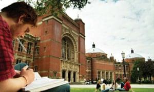 Student on lawn at Birmingham university