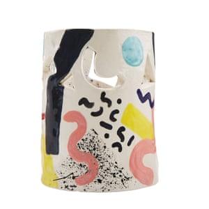 Memphis design inspired ceramic vase