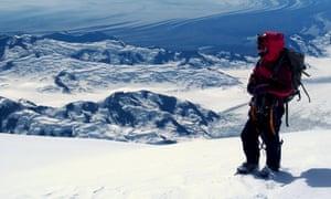Martínez on the summit of Mount Malaspina on the Saint Elias Mountains of Yukon.
