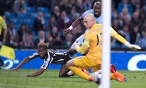 Rolando Aarons scores for Newcastle in a League Cup tie at Manchester City in 2014.