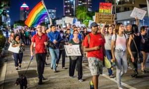 Anti-Trump protesters in Miami on Sunday evening.