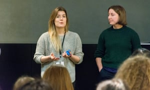Sarah Laughton, Group product manager and Jess Lane, Senior product manager share with the students why they like working in tech.