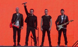 U2 on stage at Twickenham stadium, London, on 9 July.