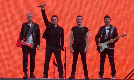 U2 on stage at Twickenham stadium, London, on 9 July.