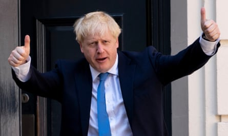 Boris Johnson arrives at the Conservative party headquarters in central London on 23 July 2019
