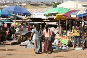 PPFN community health workers Adeleke Sherifat and Emiade Kudirat visit the market in Ibadan, south-west Nigeria,