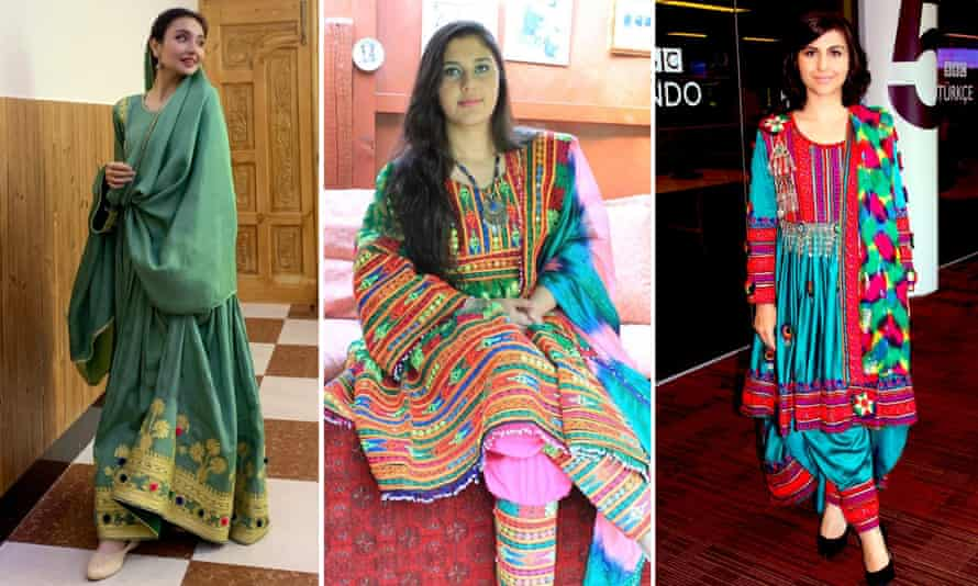 Sara Wahedi, Peymana Assad, and Sana Safi who posted images of themselves in colourful traditional Afghan clothing on social media.