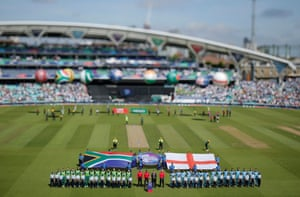 The England and South Africa teams line up at the Oval for the first match of the tournament on 30 May 2019.
