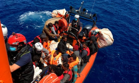 Migrants being rescued by a French NGO, SOS Mediterranée , on 25 June, 2020.