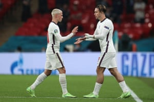 Phil Foden of England is replaced by team mate Jack Grealish.