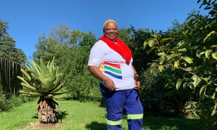 Sthwandwa Buthelezi in a standing in a green garden