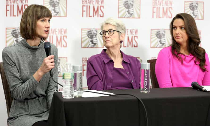 Rachel Crooks, Jessica Leeds and Samantha Holvey speak during the press conference held by women who accused Donald Trump of sexual harassment in New York City on 11 December 2017.