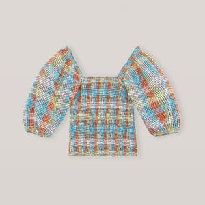 Seersucker check top with puffed sleves, £155, ganni.com