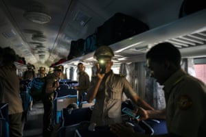 Cadets board the first train using new equipment from China in Havana, Cuba.