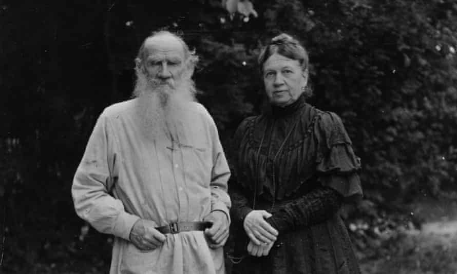 Russian writer Leo Tolstoy in the garden of his home with wife Sophia circa 1906.